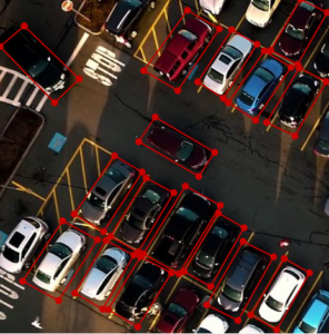 Drone footage of vehicles with oriented bounding boxes